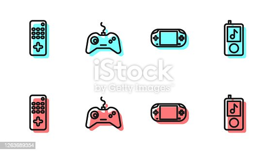 istock Set line Portable video game console, Remote control, Gamepad and Music player icon. Vector 1263689354