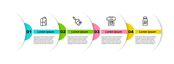 Set line Printer ink bottle, Paint brush, T-shirt and . Business infographic template. Vector