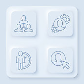 istock Set line Project team base, Human with gear inside, Time Management and User of man in business suit. White square button. Vector 1289948293