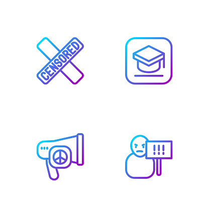 Set line Protest, Peace, Censored stamp and Graduation cap. Gradient color icons. Vector