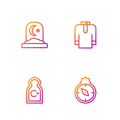 Set line Qibla, Muslim Mosque, cemetery and Shirt kurta. Gradient color icons. Vector