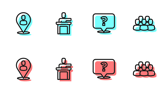 Set line Question mark, Worker location, Speaker and Project team base icon. Vector