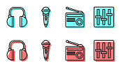 Set line Radio with antenna, Headphones, Microphone and Sound mixer controller icon. Vector