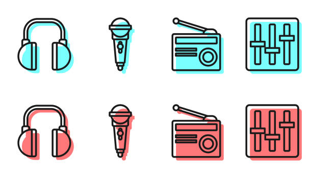 Set line Radio with antenna, Headphones, Microphone and Sound mixer controller icon. Vector Set line Radio with antenna, Headphones, Microphone and Sound mixer controller icon. Vector switchboard operator vintage stock illustrations