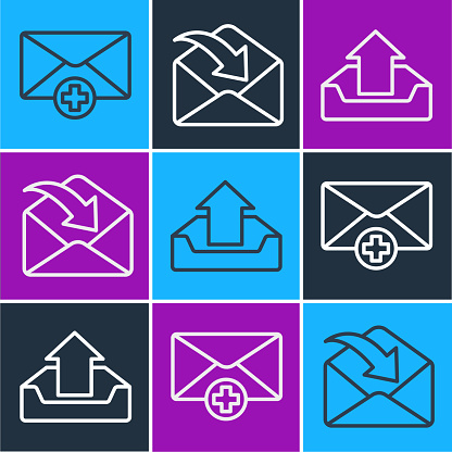 Set line Received message concept, Upload inbox and Envelope icon. Vector
