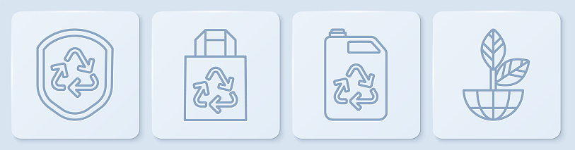 Set line Recycle symbol inside shield, Eco fuel canister, Paper bag with recycle and Earth globe and plant. White square button. Vector