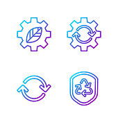 Set line Recycle symbol inside shield, Refresh, Leaf plant in gear machine and Gear and arrows as workflow. Gradient color icons. Vector