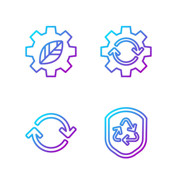 Set line Recycle symbol inside shield, Refresh, Leaf plant in ge Set line Recycle symbol inside shield, Refresh, Leaf plant in gear machine and Gear and arrows as workflow. Gradient color icons. Vector samenwerking stock illustrations