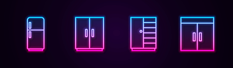 Set line Refrigerator, Wardrobe, and . Glowing neon icon. Vector