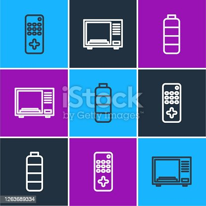 Set line Remote control, Battery charge level indicator and Microwave oven icon. Vector.