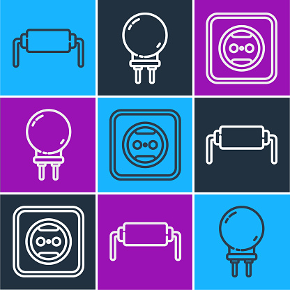Set line Resistor electricity, Electrical outlet and Light emitting diode icon. Vector