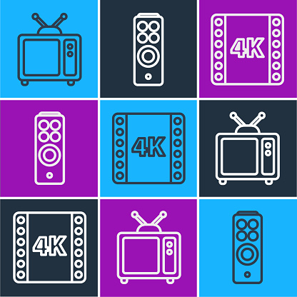 Set line Retro tv, 4k movie, tape, frame and Remote control icon. Vector