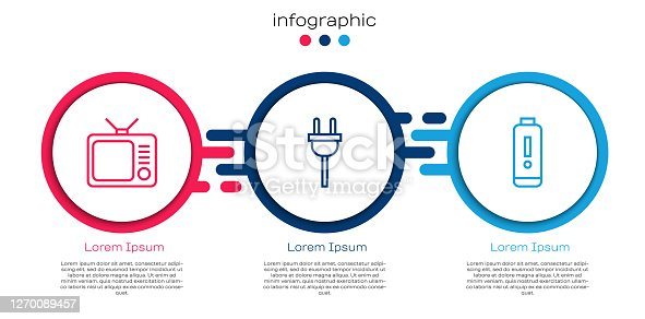 Set line Retro tv, Electric plug and Battery charge level indicator. Business infographic template. Vector.