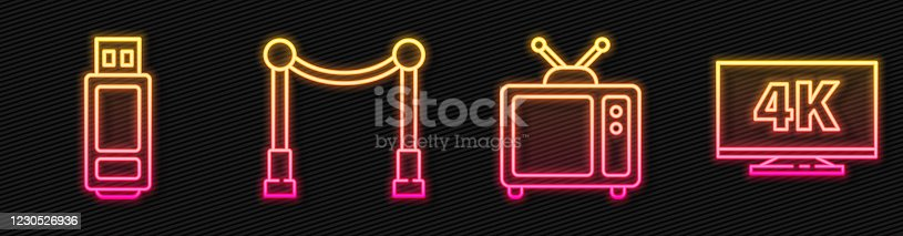 Set line Retro tv, USB flash drive, Carpet with barriers and Screen tv with 4k. Glowing neon icon. Vector