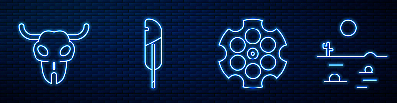 Set line Revolver cylinder, Buffalo skull, Feather pen, Desert landscape with cactus and Treasure map. Glowing neon icon on brick wall. Vector