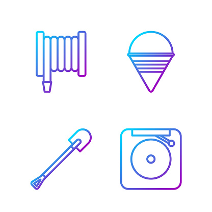 Set line Ringing alarm bell, Fire shovel, Fire hose reel and Fire cone bucket. Gradient color icons. Vector