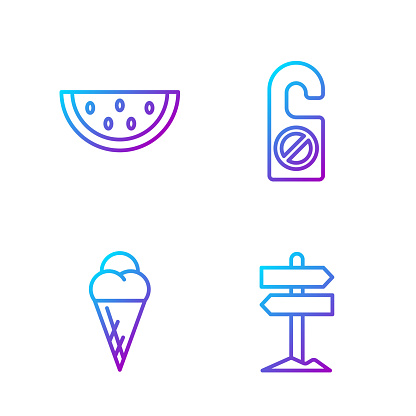 Set line Road traffic signpost, Ice cream in waffle cone, Waterm