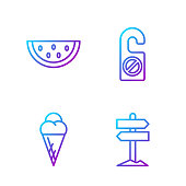 istock Set line Road traffic signpost, Ice cream in waffle cone, Waterm 1272851857