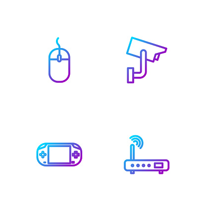 Set line Router and wi-fi signal, Portable video game console, Computer mouse and Security camera. Gradient color icons. Vector