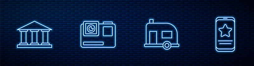 Set line Rv Camping trailer, Museum building, Action extreme camera and Mobile with review rating. Glowing neon icon on brick wall. Vector