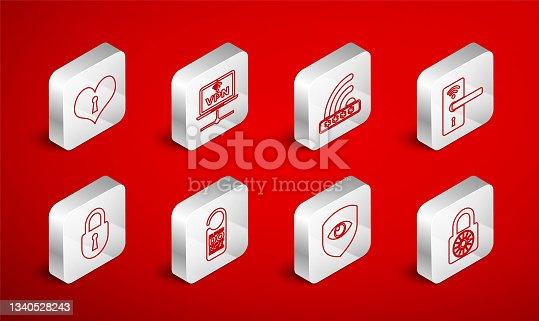 istock Set line Safe combination lock wheel, VPN Computer network, Wifi locked, Digital door with wireless, Shield and eye, Heart keyhole, Please not disturb and Lock icon. Vector 1340528243