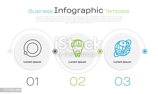 istock Set line Satellites orbiting the planet Earth, Planet Saturn and Space capsule and parachute. Business infographic template. Vector 1277001494