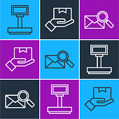 Set line Scale, Envelope with magnifying glass and Delivery hand with boxes icon. Vector