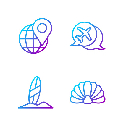 Set line Scallop sea shell, Surfboard, Location on the globe and