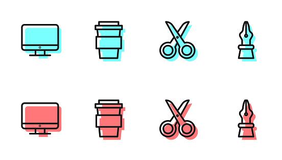 Set line Scissors, Computer monitor screen, Coffee cup go and Fountain pen nib icon. Vector