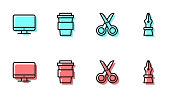 istock Set line Scissors, Computer monitor screen, Coffee cup go and Fountain pen nib icon. Vector 1270089341
