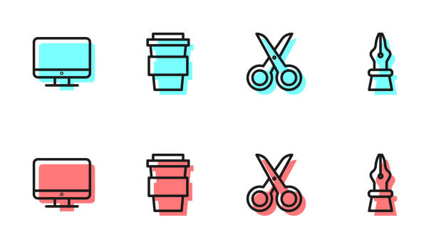 bildbanksillustrationer, clip art samt tecknat material och ikoner med ställ in linje sax, datorskärm skärm, kaffekopp gå och fountain penna nib ikon. vektor - stålpenna