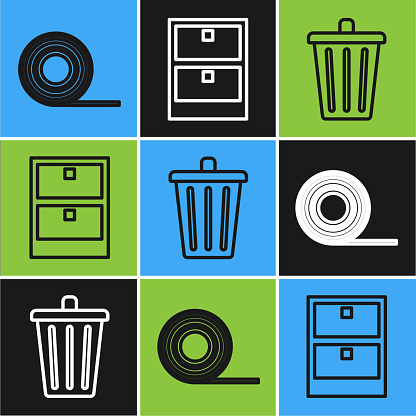 Set line Scotch, Trash can and Archive papers drawer icon. Vector
