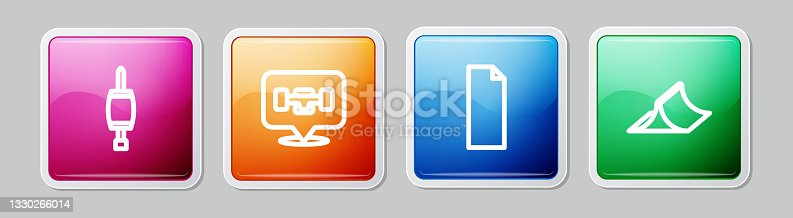 istock Set line Screwdriver, Skateboard wheel, Grip tape on skateboard and park. Colorful square button. Vector 1330266014