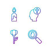 Set line Search and easter egg, Flower tulip, Burning candle and Human head with christian cross. Gradient color icons. Vector