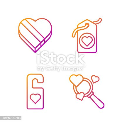 istock Set line Search heart and love, Please do not disturb with heart, Candy in heart shaped box and Heart tag. Gradient color icons. Vector 1325229786