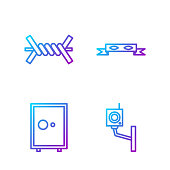 Set line Security camera, Safe, Barbed wire and Thief eye mask. Gradient color icons. Vector