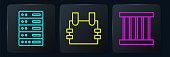 Set line Server, Data, Web Hosting, Prison window and Bulletproof vest. Black square button. Vector