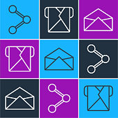 Set line Share, Envelope and Envelope icon. Vector