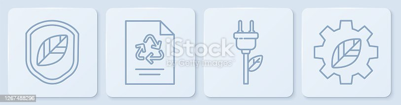 istock Set line Shield with leaf, Electric saving plug in leaf, Paper with recycle and Leaf plant in gear machine. White square button. Vector 1267488296