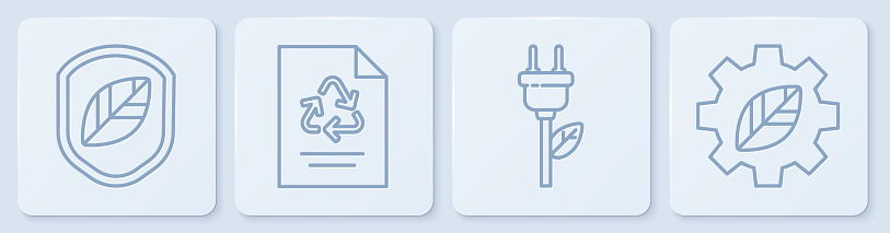 Set line Shield with leaf, Electric saving plug in leaf, Paper with recycle and Leaf plant in gear machine. White square button. Vector