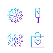 Set line Shopping bag with heart, Festive confetti, Firework and Ice cream. Gradient color icons. Vector
