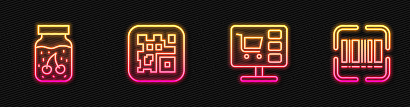 Set line Shopping cart on computer, Jam jar, QR code and Scanner scanning bar. Glowing neon icon. Vector