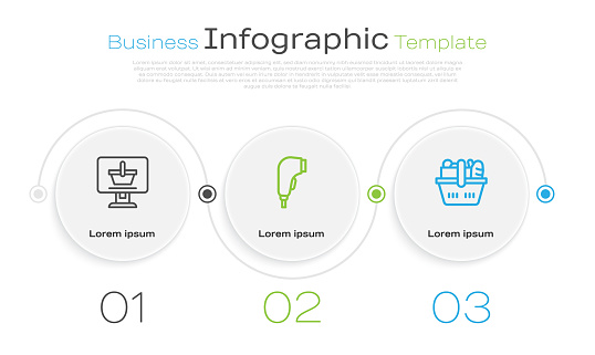 Set line Shopping cart on computer, Scanner scanning bar code and basket and food. Business infographic template. Vector