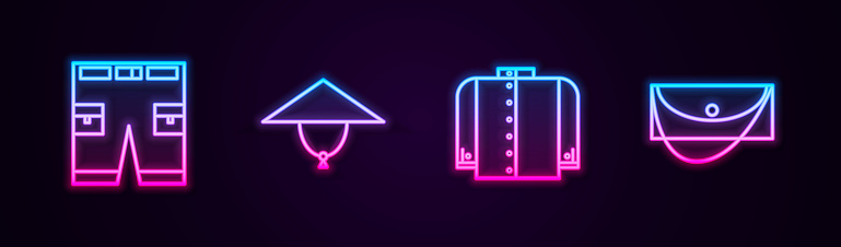 Set line Short or pants, Asian conical hat, T-shirt and Clutch bag. Glowing neon icon. Vector