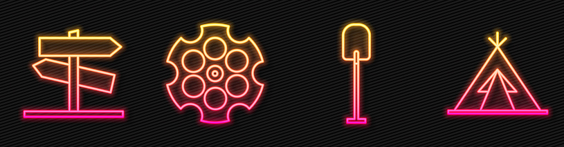 Set line Shovel, Road traffic signpost, Revolver cylinder and Indian teepee or wigwam. Glowing neon icon. Vector