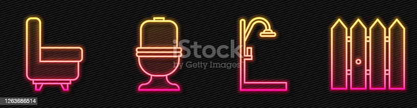 Set line Shower, Armchair, Toilet bowl and Garden fence wooden. Glowing neon icon. Vector