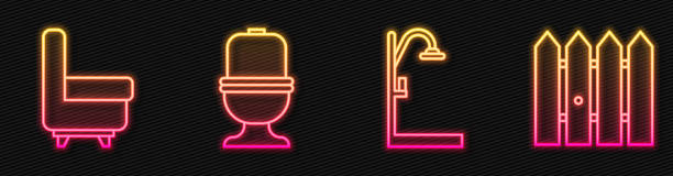 Set line Shower, Armchair, Toilet bowl and Garden fence wooden. Glowing neon icon. Vector Set line Shower, Armchair, Toilet bowl and Garden fence wooden. Glowing neon icon. Vector flushing toilet stock illustrations