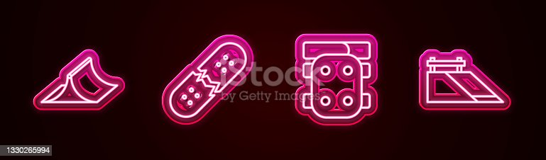 istock Set line Skate park, Broken skateboard deck, Knee pads and . Glowing neon icon. Vector 1330265994