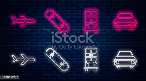Set line Skateboard, Double decker bus, Plane and Car. Glowing neon icon on brick wall. Vector