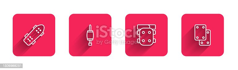 istock Set line Skateboard, Screwdriver, Knee pads and with long shadow. Red square button. Vector 1326988251
